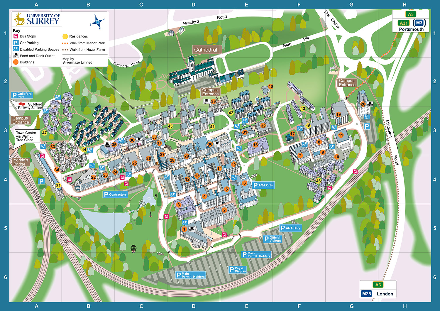 Surrey University Map University of Surrey   Silvermaze Mapping Specialist Surrey University Map